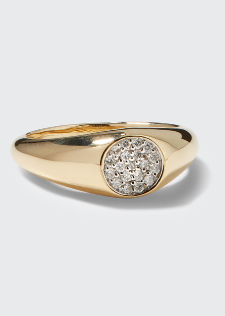 14k Round Diamond Signet Pinky Ring, Size 4 and 6.5