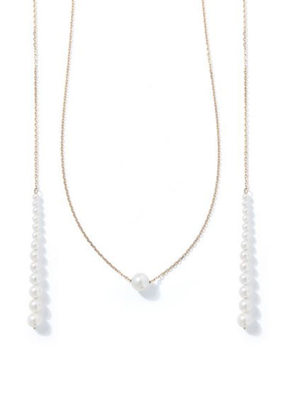 14k Graduated Pearl and Chain Lariat