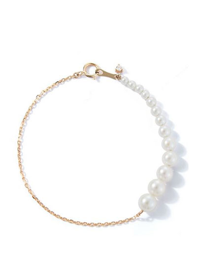 14k Graduated Pearl and Chain Bracelet