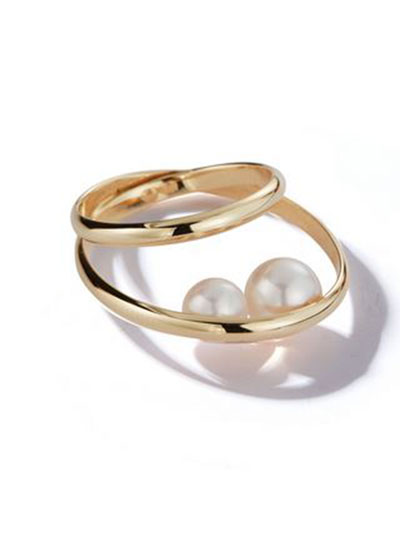 14k Gold 2-Band Pearl Ring