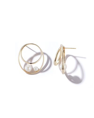 14k Pearl Hoop-Front Earrings