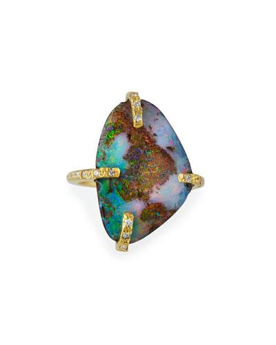 Sueno 18k Boulder Opal Ring with Diamonds, Size 6.5
