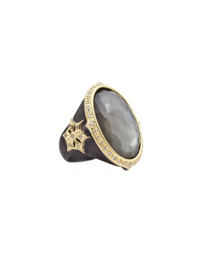 Old World Oval Triplet and Diamond Starburst Ring, Size 7