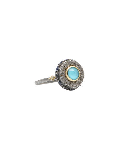 Old World Diamond Pave and Turquoise/Quartz Doublet Ring, Size 6.5