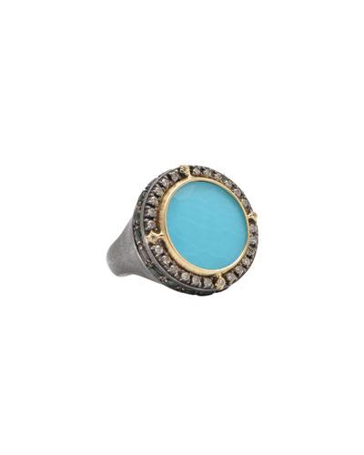 Old World Round Turquoise/Quartz Doublet Ring, Size 7