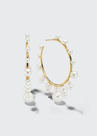 Nova Radiating Stones Hoop Earrings in 18K Gold with Freshwater Pearls