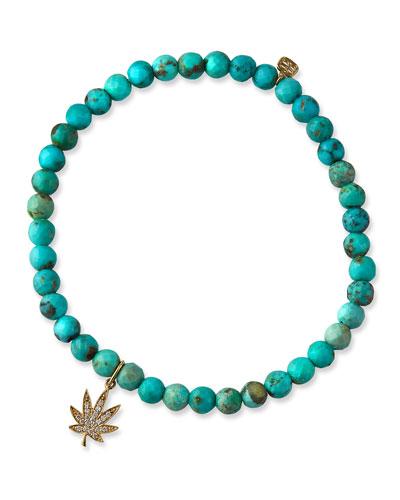 4mm Turquoise Bead Diamond Pot Leaf Bracelet
