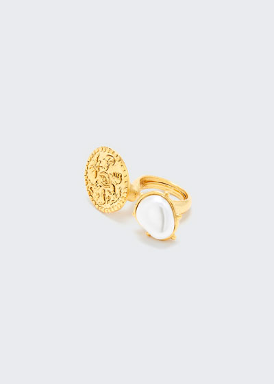 Coin and Pearly Between-the-Finger Ring