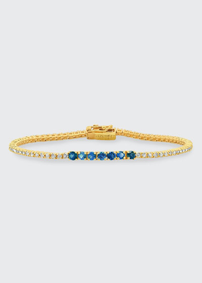 Small Diamond Blue Sapphire Tennis Bracelet