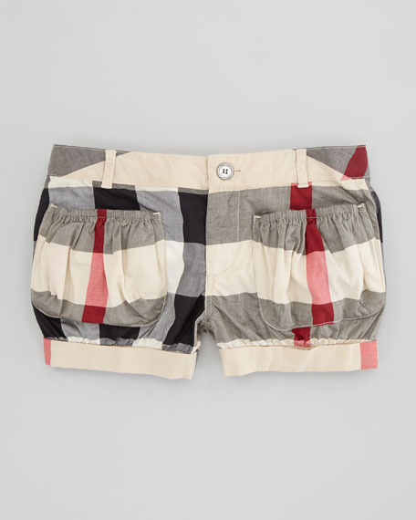 Check Cotton-Voile Shorts, New Classic