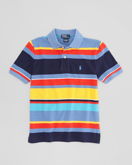 Short-Sleeve Multi-Striped Mesh Polo Shirt, City Blue, Sizes 8-10
