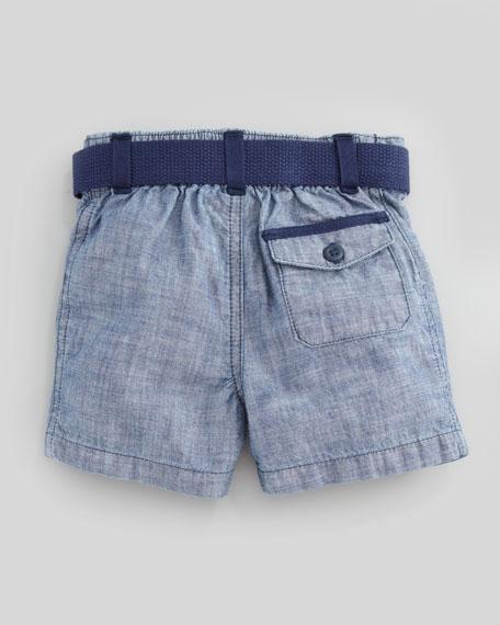 Short-Sleeve Plaid Shirt & Chambray Short Set, 3-9 Months