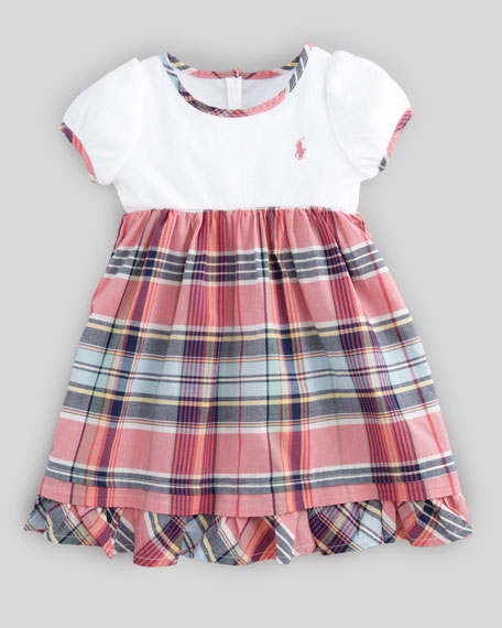 Plaid-Skirt Combo Dress, 12-24 Months