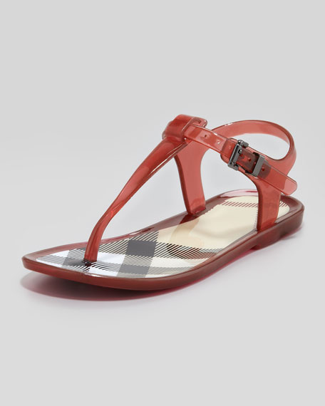Jelly Sandals w/Check Lining, Pink Azalea, Youth