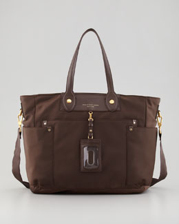 MARC by Marc Jacobs Eliz-A-Baby Preppy Nylon Diaper Bag, Lumber Brown