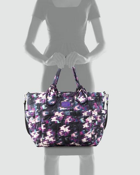 Pretty Nylon Eliz-A-Baby Diaper Bag, Black & Purple Multi