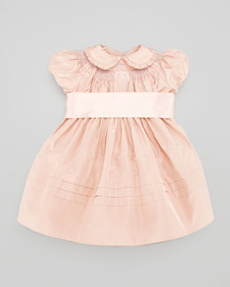 Ralph Lauren Silk Taffeta Smocked Dress, Dusty Rose, 3-9 Months