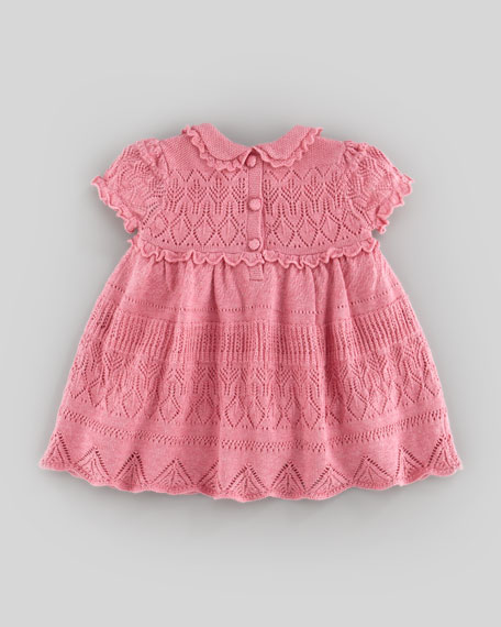 Pointelle-Knit Dress, Fall Rose Heather, 3-9 Months