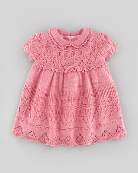 Pointelle-Knit Dress, Fall Rose Heather, 9-24 Months