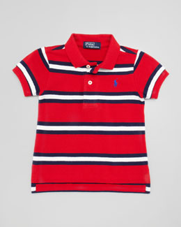 Ralph Lauren Short-Sleeve Striped Polo, Compass Red, 9-24 Months