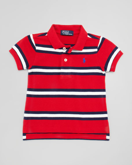 Short-Sleeve Striped Polo, Compass Red, 9-24 Months