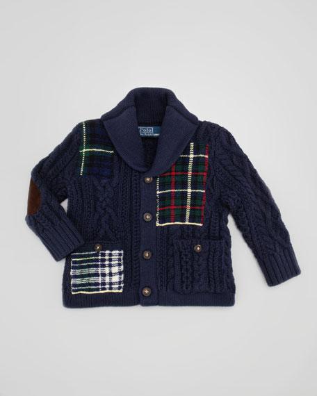 Shawl-Collar Patchwork Cardigan, 9-24 Months