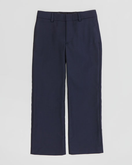 Wool-Twill Flat-Front Pants, Navy, Sizes 2-3