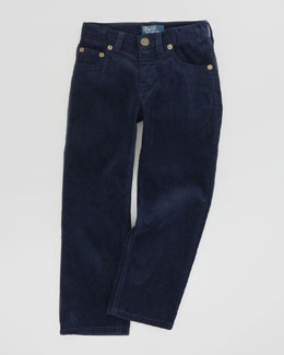 Ralph Lauren Childrenswear Fine-Wale 5-Pocket Corduroy Pants, New Port Navy, Sizes 2-3