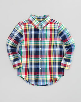 Ralph Lauren Childrenswear Blake Long-Sleeve Plaid-Twill Shirt, Yellow Multi, Sizes 2-3