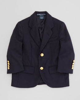 Ralph Lauren Childrenswear Two-Button Blazer, Navy, 4-7