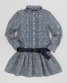 Ralph Lauren Floral Cotton Shirt Dress, Blue Multi, Sizes 2-3
