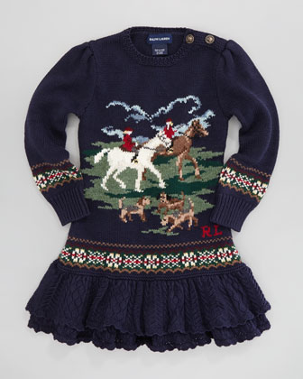 Equestrian Sweater Dress, Sizes 4-6X