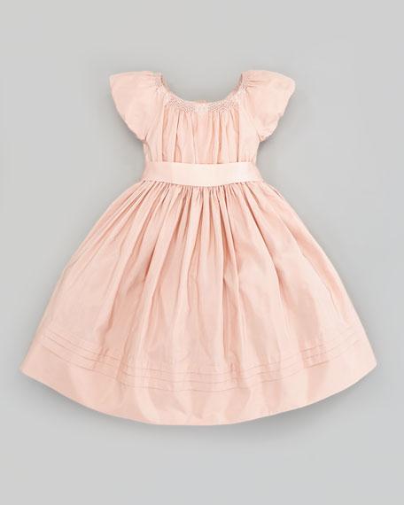 Silk Taffeta Smocked Dress, Dusty Rose, Sizes 4-6X