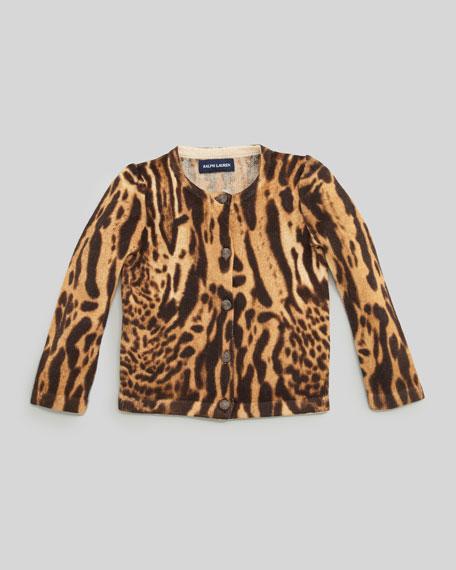 Ocelot-Print Cardigan Sweater, 2T-3T