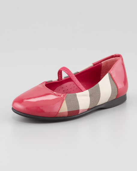 Check Patent-Trim Mary Jane Ballerina, Claret Pink, Toddler Sizes