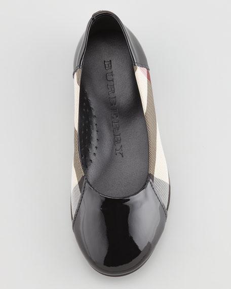 Check Patent-Trim Ballerina, Black