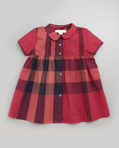 Peter-Pan-Collar Check Dress, Claret Pink, 12-24 Months