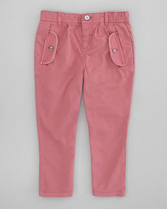 Infant Girls' Twill Pants, Dusty Pink