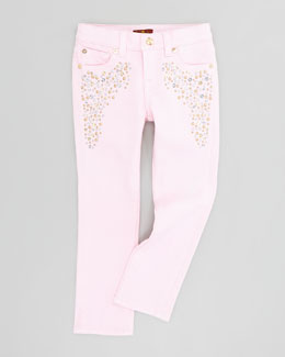 7 For All Mankind Roxanne Blush Pink Jeans, Sizes 4-6X