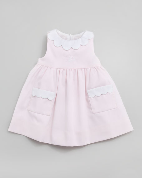 Plain Scalloped Pincord Dress, 3-9 Months
