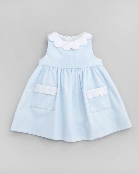 Plain Scalloped Pincord Dress, Light Blue, 12-24 Months