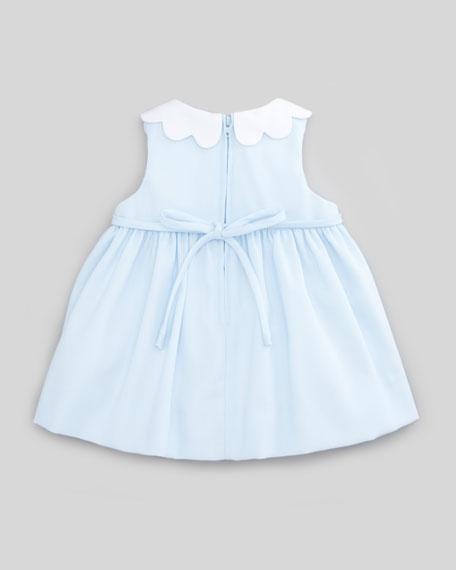 Plain Scalloped Pincord Dress, Light Blue, 3-9 Months