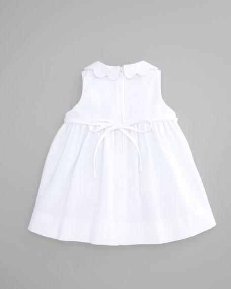Plain Scalloped Pincord Dress,  White, 12-24 Months