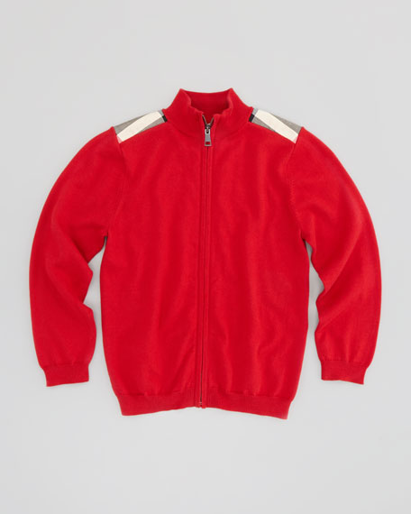 Boys' Check-Patch Zip-Front Sweater, Red, 4Y-14Y