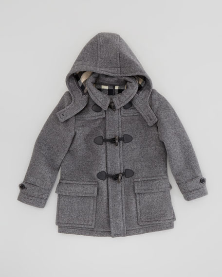 Boys' Wool Duffle Coat, Mid-Gray Melange