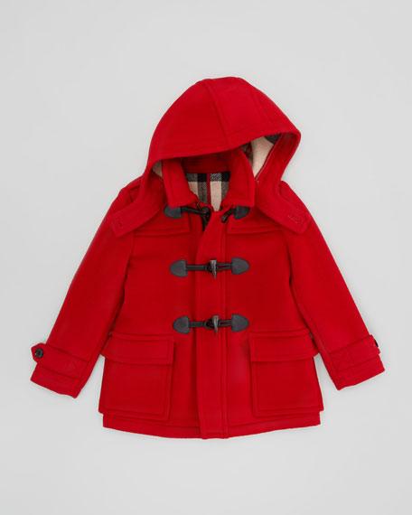 Boys' Wool Duffle Coat, Military Red, 4Y-10Y