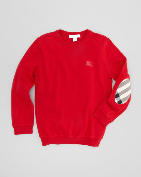 Boys' Check-Elbow Patch Sweater, Military Red, 4Y-10Y