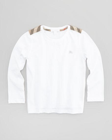 Boys' Check-Shoulder Long-Sleeve Tee, 4Y-10Y