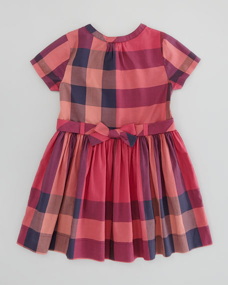 Girls' Check Pleat-Front Dress, Claret Pink