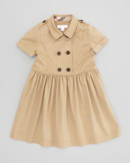 Burberry Girls' Trench Coat Dress, Honey, 4Y-10Y